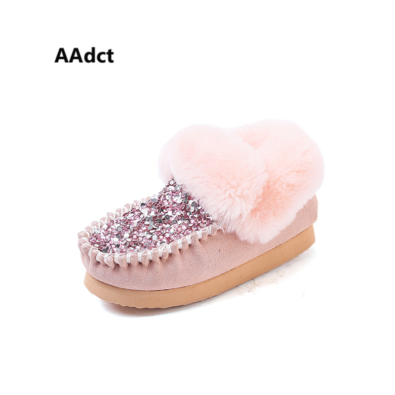 AAdct Cotton warm snow boot for little glitter girls New fashion shinning short baby boots 2018 Winter little kids boots aadct cotton warm children snow boots for glitter girls new fashion shinning short girls boots 2018 winter kids boots