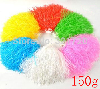 150g Cheering pompom 10 pieces lot Cheerleaders Bouquet Cheerleaders hand flowers Rings and handles can choose
