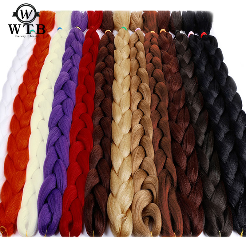 WTB 165g Black Pink Purple 20 Colors 82 Inch Jumbo Braid Hair Braids Pure Color Synthetic Braiding Hair