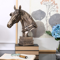 American Horses Racing Head Statue Bust Resin+Copper Creative Art Craft Animal Art Sketch Teaching Furnishing Articles L1761