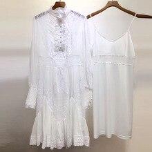 6d6e12b25d Wiosna jedwab biały suknie dla kobiet 2019 najwyższej jakości sukienka  urząd Lady stroną zima sukienka do kolan