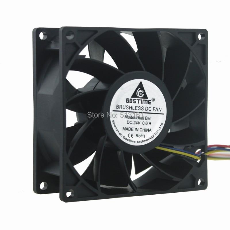 10Pcs Gdstime 24V 4Pin PWM 9238 92*92*38MM Waterproof 90MM Ball Comptuter Case Cooling Server Fan
