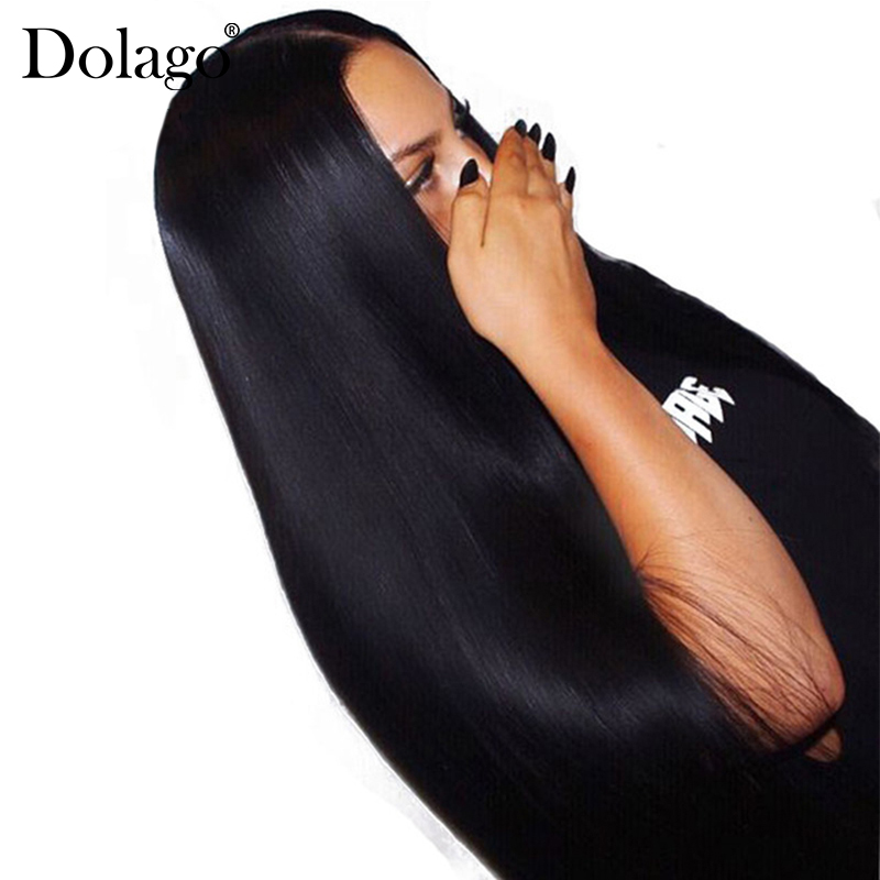 Lurus Lace Depan Manusia Rambut palsu Rambut Untuk Wanita 250% Ketumpatan Brazil 13x4 Lace Frontal Rambut palsu Pra Plucked Asli Hitam Dolago Remy