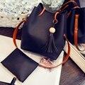 Hanup moda conjunto de imágenes del bolso del cubo pequeño dulce de la borla del bolso de las mujeres bolsa de mensajero bolsa de hombro