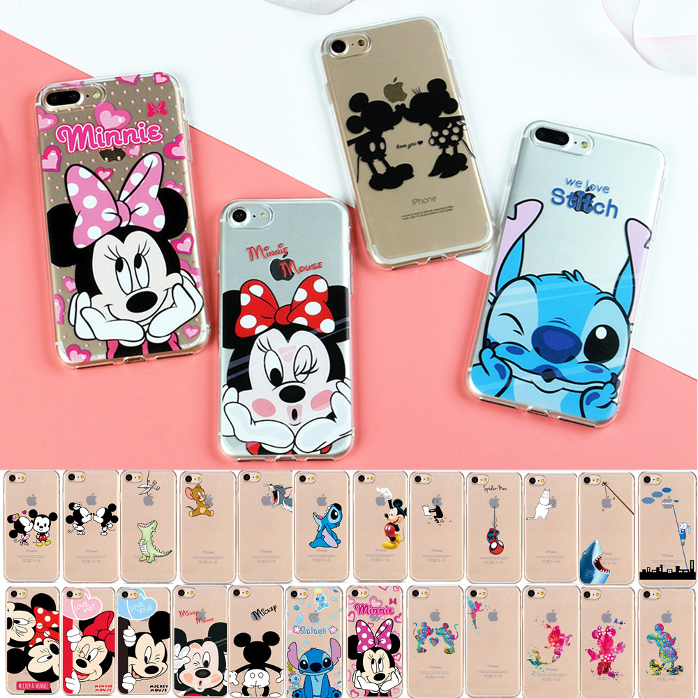 Galleria fotografica JeKacci Soft Clear TPU Phone Case for Apple iPhone 6s 6plus 5 5s Se 8 X Mickey Mouse Kiss Minnie Back Cover for iPhone 7 Case
