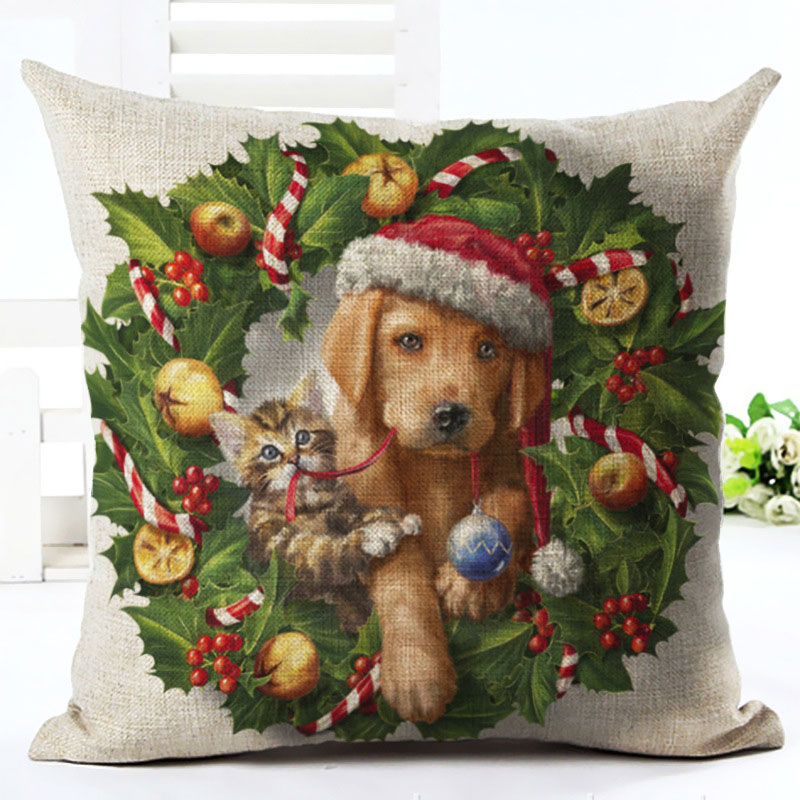 2019 New Year Cartoon Pattern Cat and Dog 45x45cm Pillowcase Merry Christmas Decorations for Home Santa Clause Linen Cover Natal (5)