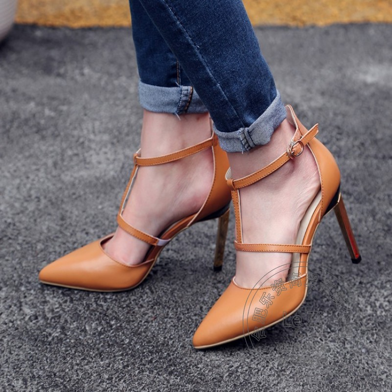 Buckle Strap T Strap Models Full Grain Leather Novelty Concise Casual Stiletto Heels Pointed Toe Famous