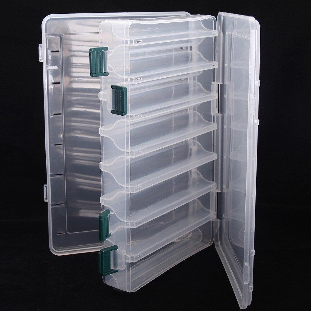 Коробка для рыболовных приманок, двухсторонняя коробка для рыболовных снастей с 14 отделениями, чехол для хранения рыболовных принадлежностей, пластиковый контейнер для рыболовных снастей Коробки для рыболовной снасти      АлиЭкспресс