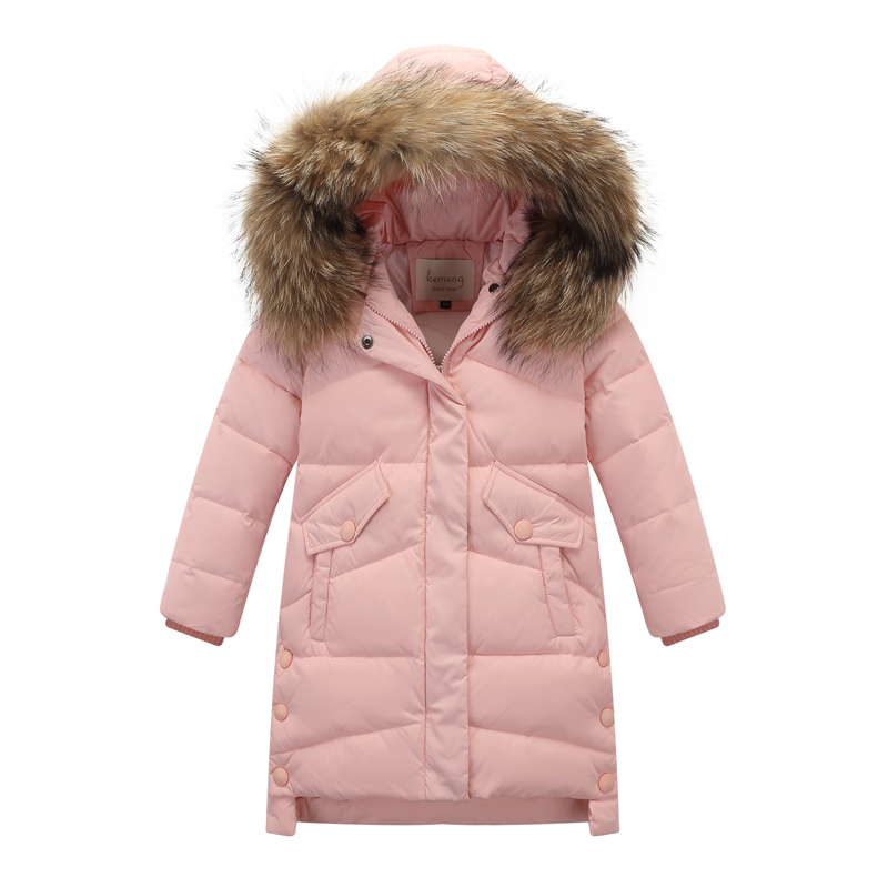 Hot 2019 girls Winter duck down Jackets Girls Fashion Fur Collar Letters Coats Girl Thickening Hooded Warm Jacket kids clothes