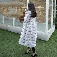 X длинные 120 см натуральный кролик рекс Меховые пальто верхняя одежда женская волны Cut Стенд воротник натуральный мех Куртки женские зимние