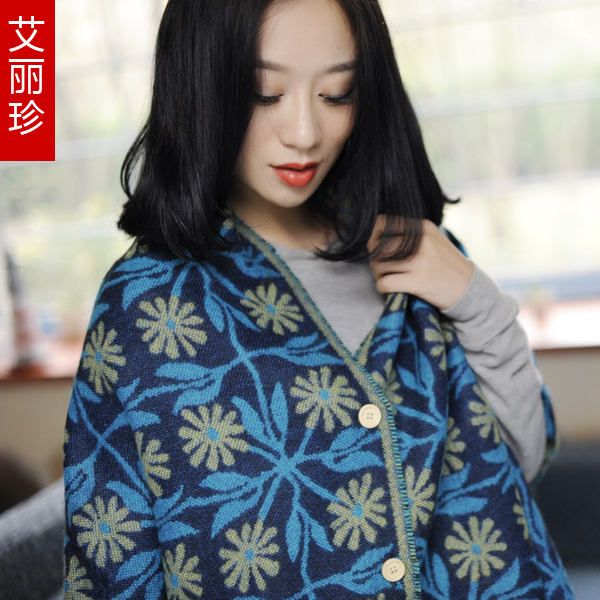 Cape winter thickening Women scarf knitted jacquard scarf buckle scarf cloak cape