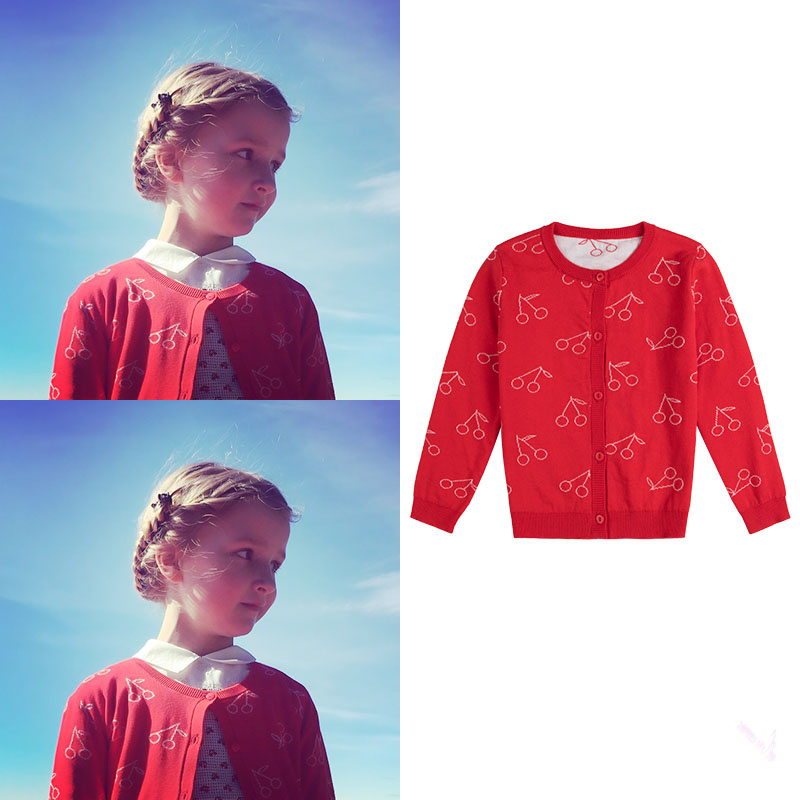 все цены на Brand Girl's Wear Cherry Style Double-Sided Fine Needle Super-soft Jacquard Cotton Knit Cardigan
