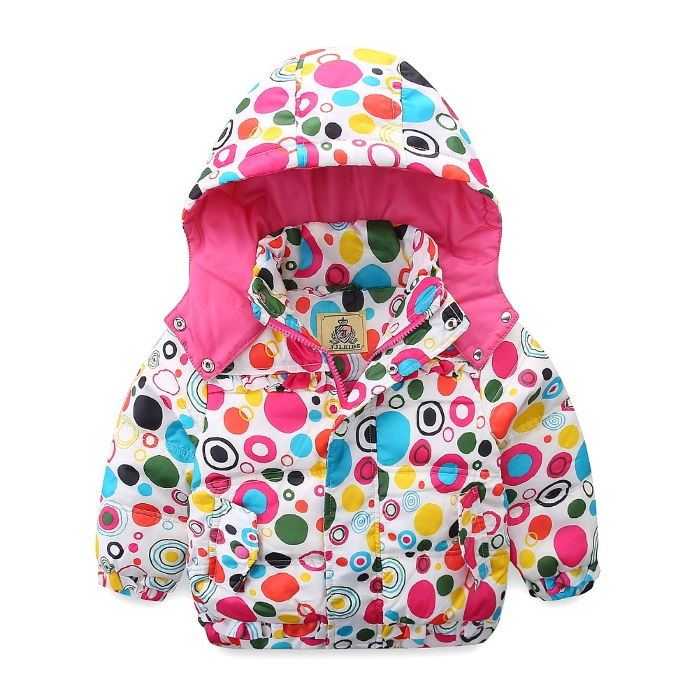 Mudkingdom Little Girls Down Coat Winter Detachable Hooded Color Printing Circle Pattern Cloth With Zipper And ButtonsMudkingdom Little Girls Down Coat Winter Detachable Hooded Color Printing Circle Pattern Cloth With Zipper And Buttons