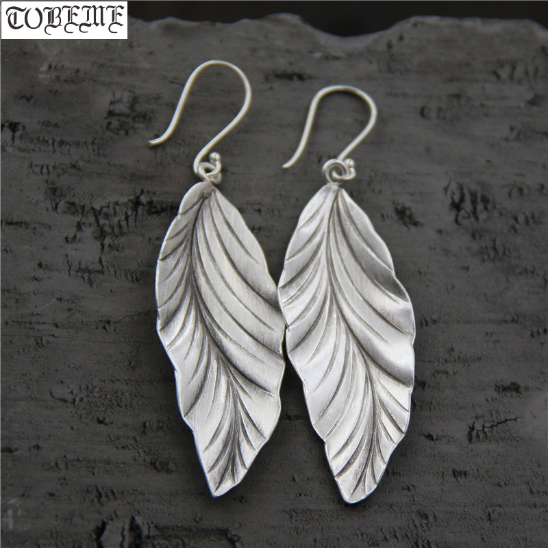 Handcrafted 100% 925 Silver Leaf Earrings Thailand Silver Women Earrings Pure Silver Bohemia Drop Earrings