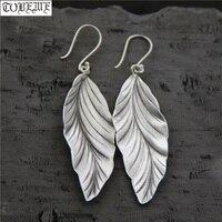 Handcrafted 100% 925 Silver Leaf Earrings Thailand Silver Women Earrings Pure Silver Bohemia Drop Earrings