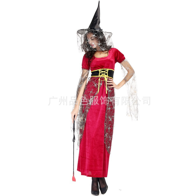 New Red Fantasia Woman Sexy Magician Witch Cosplay Halloween ...