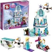 SY373 Elsa's Sparkling Ice Castle Anna Elsa Queen Kristoff Olaf  Bricks Building Block Minifigure Toys Compatible with Legoe
