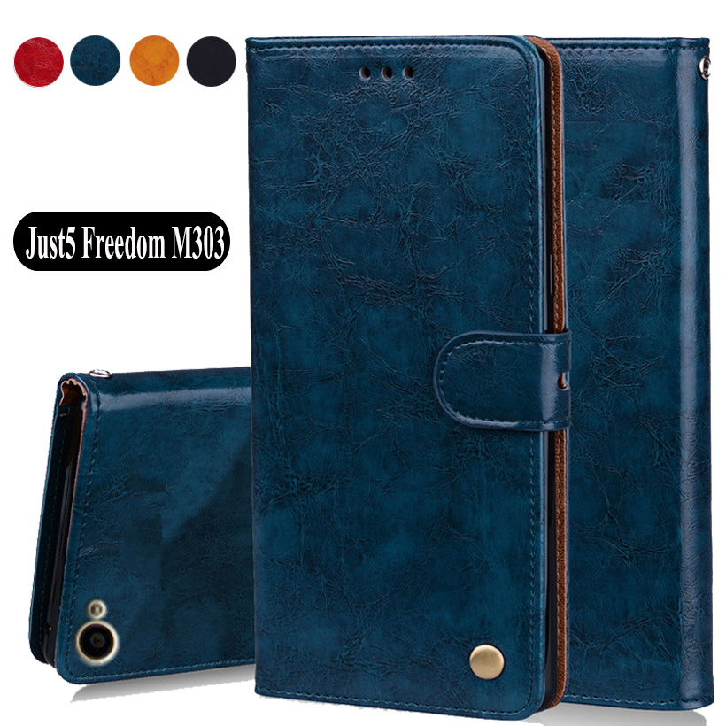 Luxury PU Leather Slip-resistant Flip Wallet Case For Just5 Freedom M303 Case 5.0 Back Cover Book Case Bags W02 image