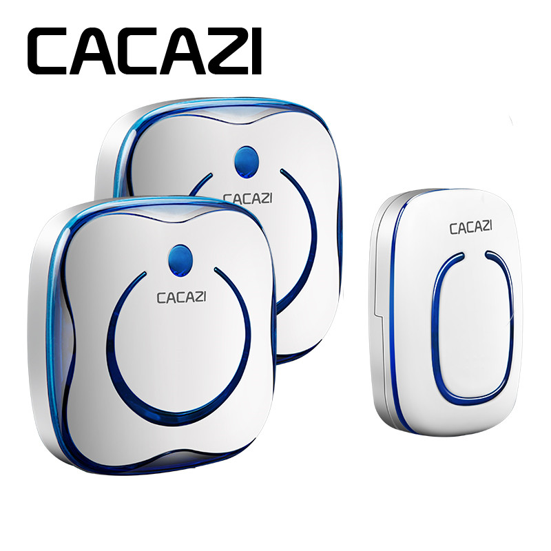 CACAZI wireless doorbell 280M remote AC 100-240V 1 transmitter+2 receivers door bell waterproof 36 rings 4 volume door ring wholesale 10pcs stv8172a brand new & original free shipping free shipping