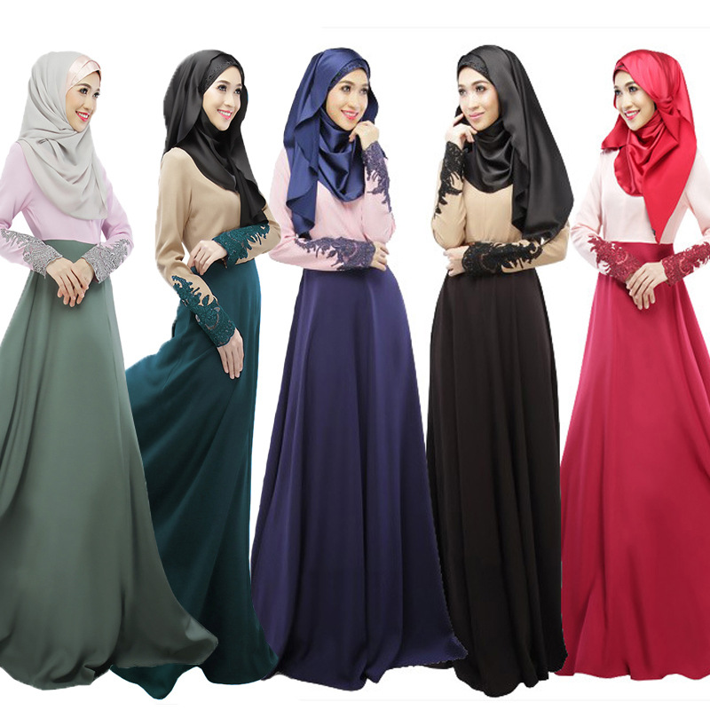 Nouvelle couleur correspondant musulman longue jupe simple couche imperméable manchette dentelle musulman retour aux anciennes robes Dubai robes arabes