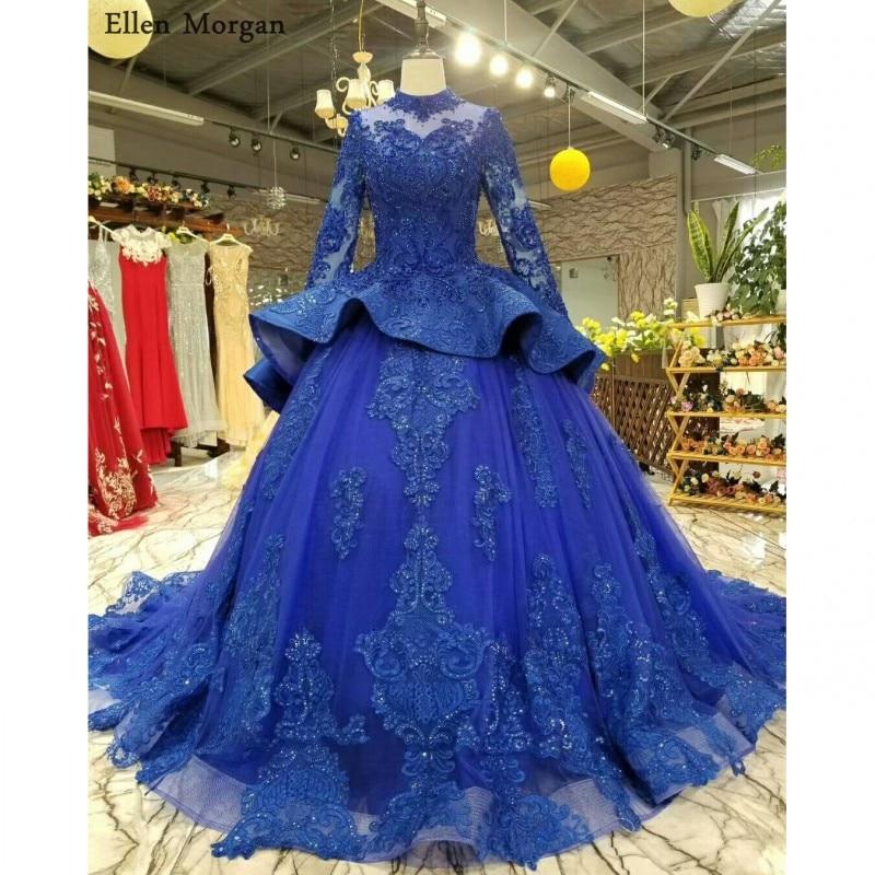 Wedding Dresses 2018 Couture Ball Gowns Elegant Royal: Royal Blue High Neck Ball Gowns Wedding Dresses 2018 Saudi