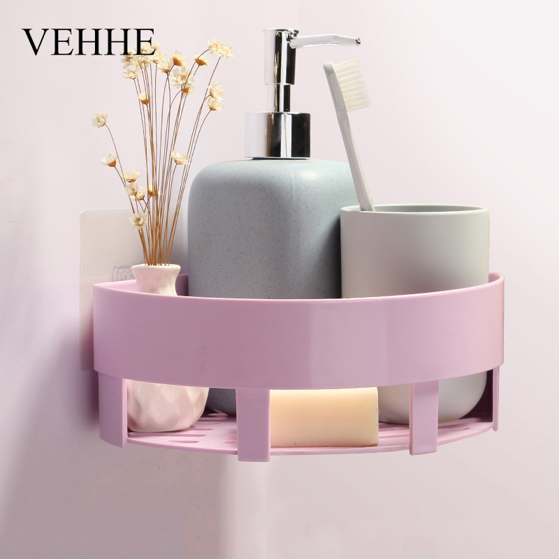 VEHHE Kitchen Basket Bathroom Rack Sector Corner Wall Shelf Plastic ...