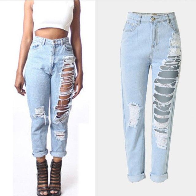 2017 hot koop vrouwen hemelsblauw witte broek plus size vintage