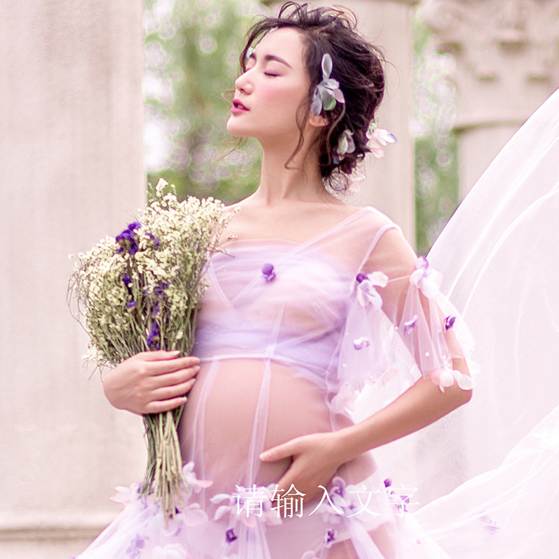 290c7918feaa7 Light Purple Maternity Gown Lace Flower fairy Dress Studio Maternity  Photography Props Pregnant Women Dresses Photo FlowerShoot-in Dresses from  Mother ...