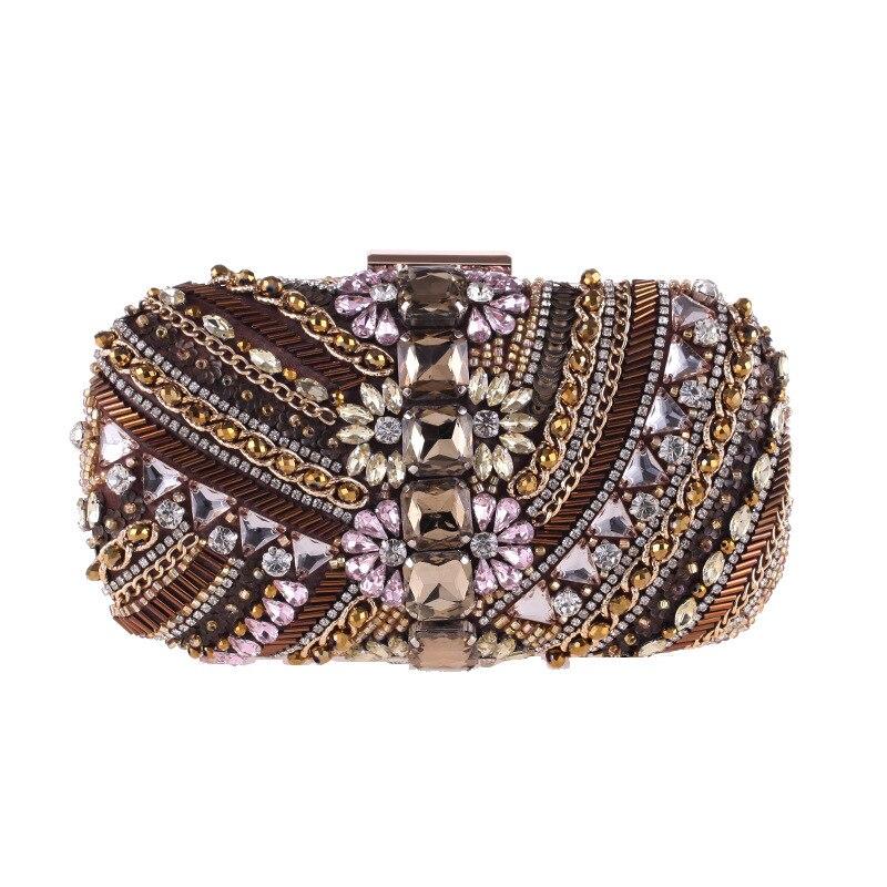 Luxe GEM Vintage diamant fleur cristal sac De soirée pochettes Bling jour embrayages dame fête mariage sac à main Bolsa De Festa