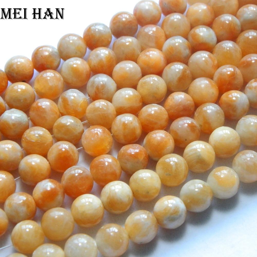 Wholesale (2 strandslot) natural 10mm chinese orange calcite gem beads round stone for jewelry design making