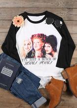 plus size women halloween t shirt 34 sleeve female tops tee hocus pocus baseball t shirt femme harajuku t shirt ladies tops tee