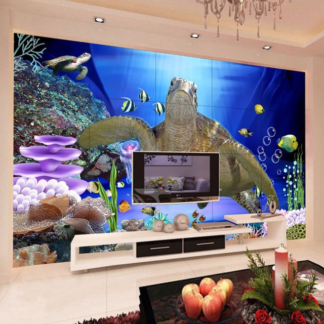 soundproof living room rooms with black leather couch custom wall mural 3d underwater world sea turtle non woven wallpaper modern painting decorative