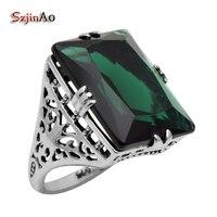 Szjinao Fine Jewelry Wholesale Cocktail Ring Fashion filigree Edwardian Green Emeald Women 925 Sterling Silver Ring