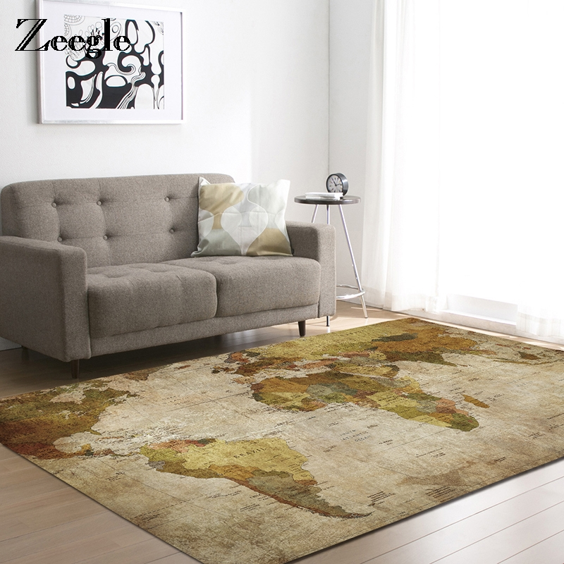 Zeegle Floor Mat Carpets Living Room Anti-slip Sofa Besides Rugs Bedroom Carpets Kids Room Area Rug World Map Printed Mat