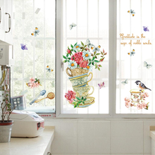 Hand painted cups of flowers wall stickers decor art decal mural adhesive film