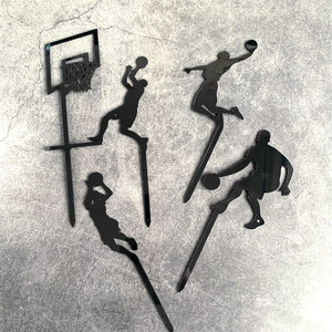 Image 4 - 5 個テーマバスケットボールアクリルケーキトッパーノベルティスラムダンクカップケーキトッパー誕生日スポーツパーティーのケーキの装飾 2019 新