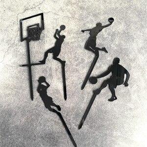 Image 4 - Adorno acrílico para pastel de baloncesto, tema de 5 uds., novedad, Cupcake Slam Dunk, adornos de pastel deportivo para cumpleaños, 2019