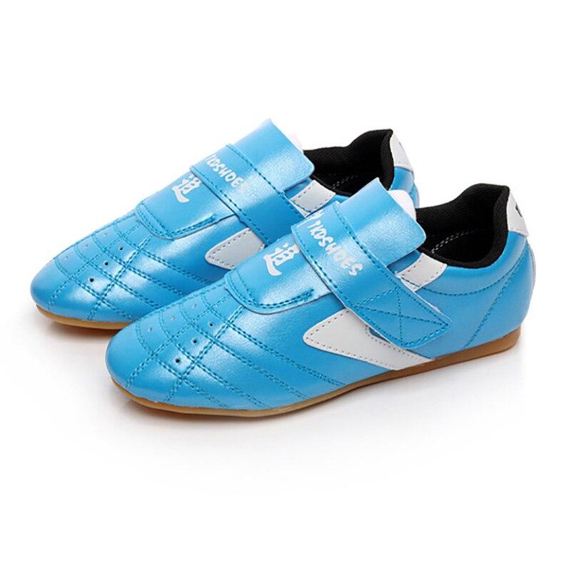 USHINE Blue Sports Shoes Kung Fu Wushu Taichi Karate Martial Arts Wrestling Sneakers Taekwondo Shoes Children Adult