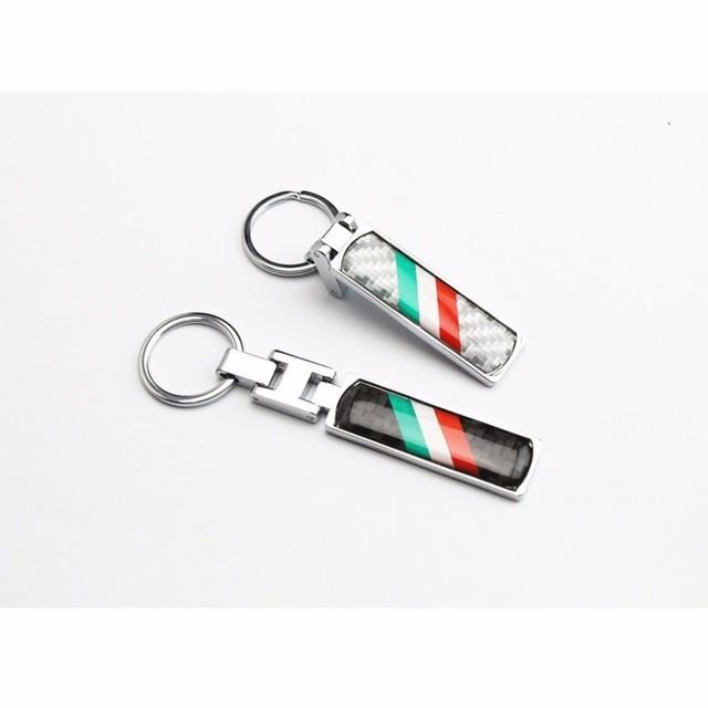 33a32200dc32a 1 pcs Nova Bandeira Italiana fibra De carbono do Metal Chaveiro Anel Chave  Fob Para Fiat