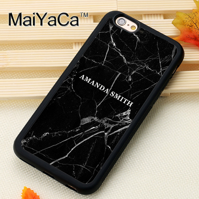 Maiyaca Custom Personalized Black Marble For Iphone 6 6s Case Soft Rubber Phone Cases Cover