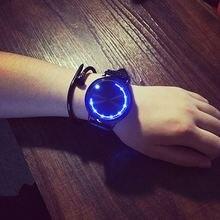 Модный кожаный ремешок сенсорный экран светодиодный часы для женщин/мужчин синий светильник дисплей время 88 TT@ 88