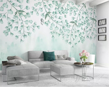 beibehang Custom size papel de parede wallpaper Fresh green leaves watercolor style Nordic minimalist TV background wall paper