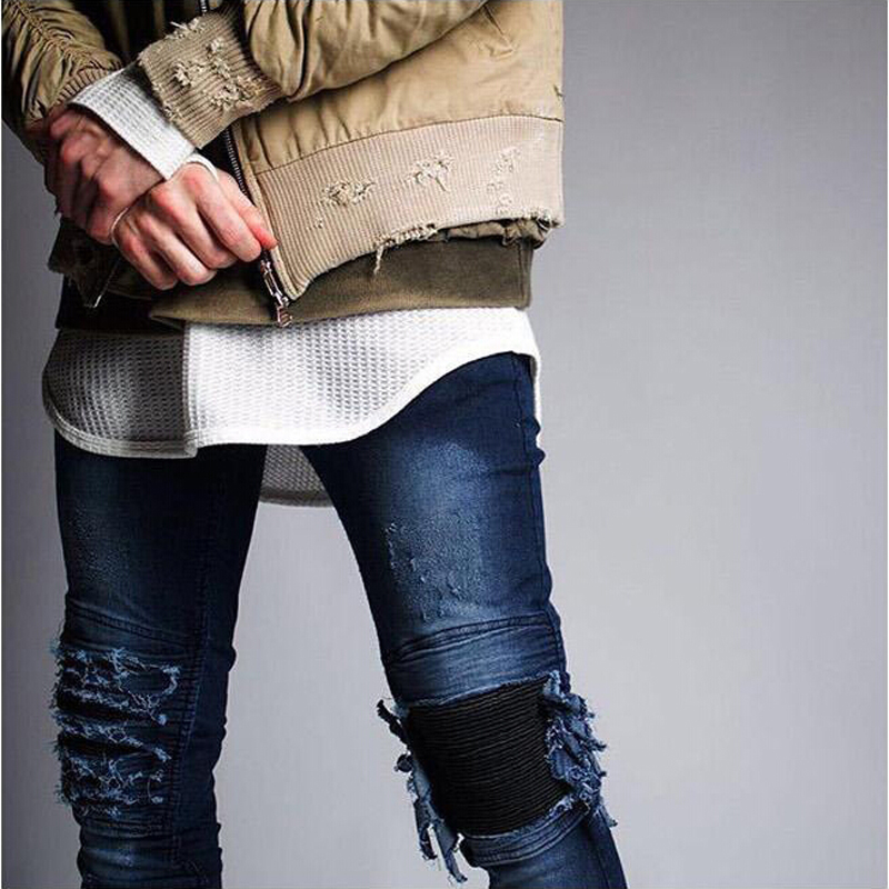 New hip-hop Men Jeans masculina Fashion Denim distressed Men's Slim Jeans pants Brand Biker jeans skinny rock ripped jeans homme  new 2016 fashion mens cotton ripped jeans pants with rivet men slim fit white black hip hop distressed biker jeans z17