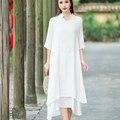 Mulheres Cor Sólida Casual Vestido Branco de Linho de Algodão Plus Size XL V Pescoço Meia Manga Do Vestido Do Vintage Vestido Maxi Solto