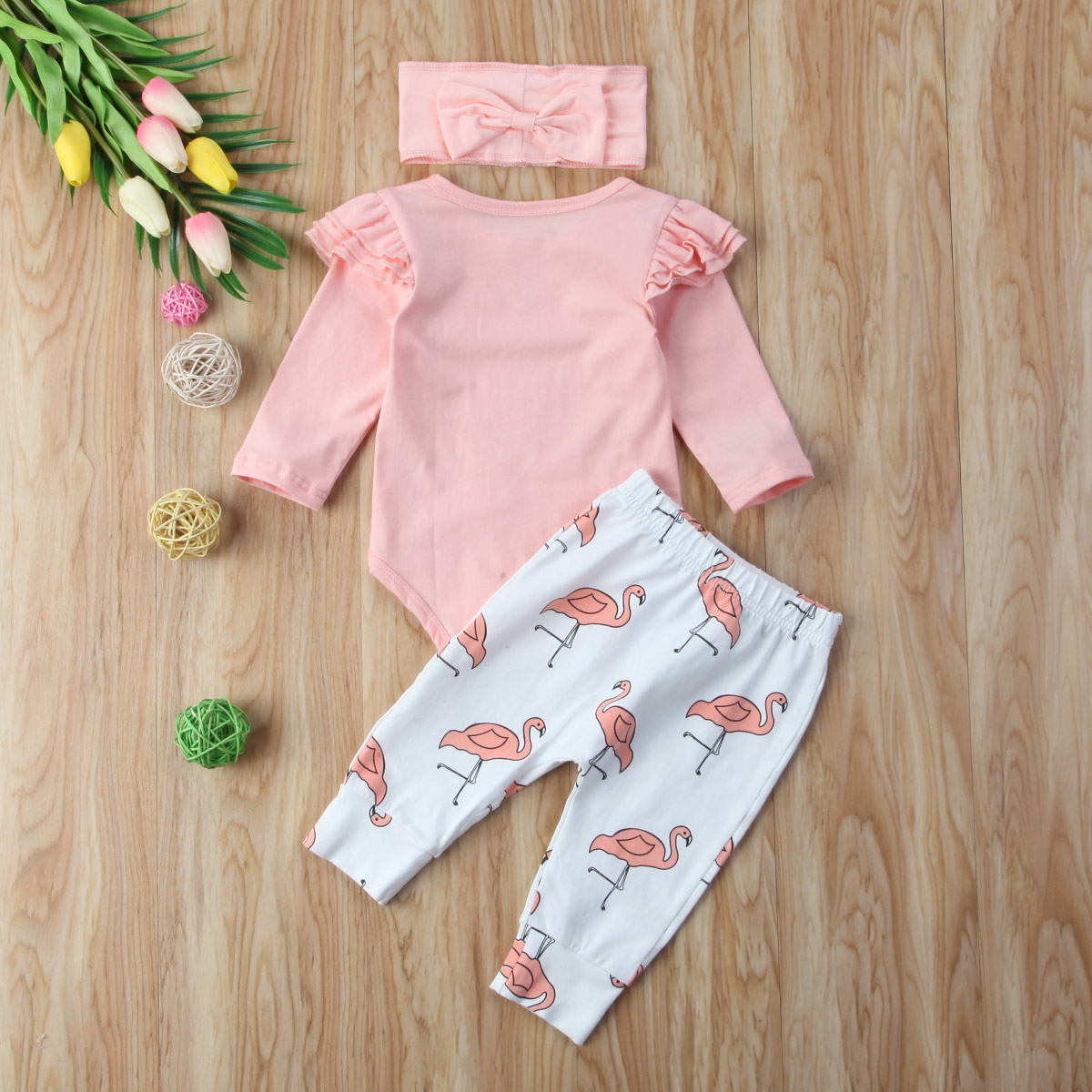 2dfd0d181d92c Newborn Baby Girl Clothes Set Pink Ruffle Autumn O Neck Long Sleeve  Bodysuits Flamingo Pants Headband Girls Clothing Outfit 3PCs-in Clothing  Sets from ...