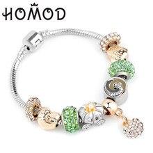 002922d7b929 HOMOD plata antigua más nueva serpiente cadena pulseras y brazaletes  calabaza perlas joyería marca pulsera regalo 2018
