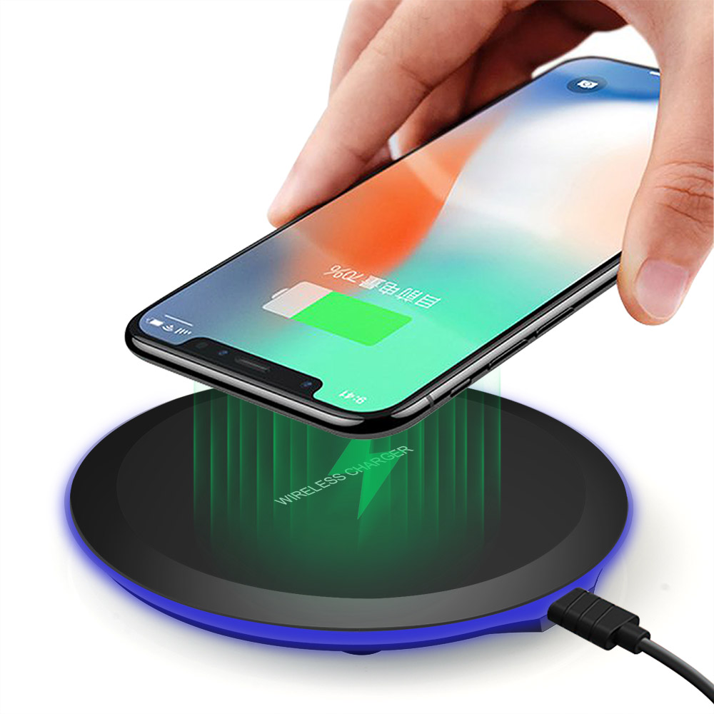 DCAE QI Wireless Charger Ultra Thin Desktop Mini Wireless Charging Pad for iPhone XS MAX XR X 8 Plus Samsung Note 9 S9 S8 Xiaomi 1
