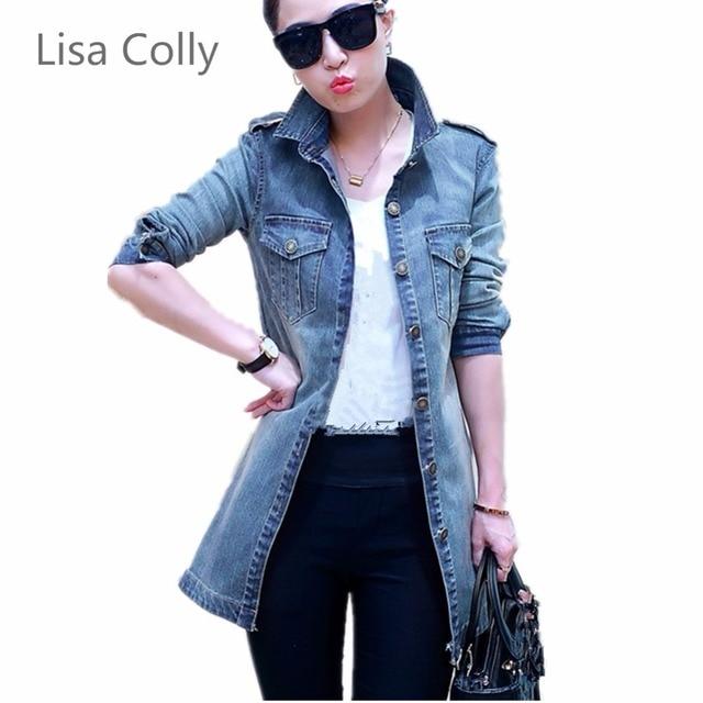 Lisa Colly New Women Autumn Denim Jacket Vintage Long Sleeve Loose Female Jeans Coat Casual Women Outwear S-4XL Size