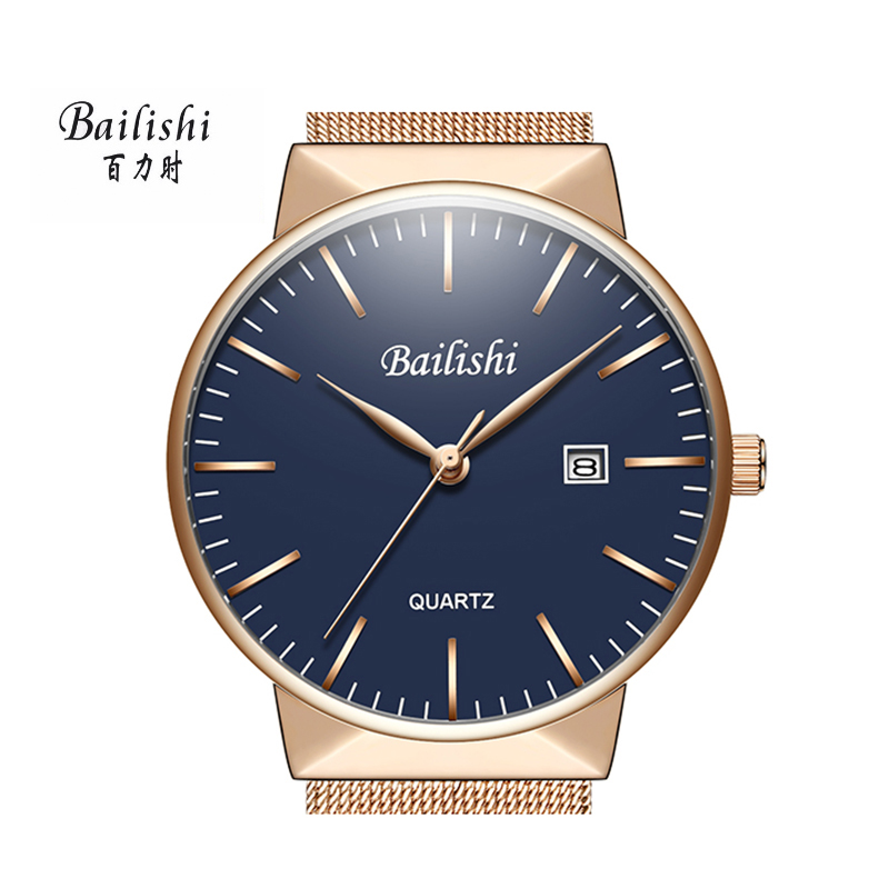 BAILISHI Blue/Gold luxury men watches 40m Ultra Thin casual men's wristwatch high quality waterproof male sport relogiomasculino коньки onlitop 223f 37 40 blue 806164