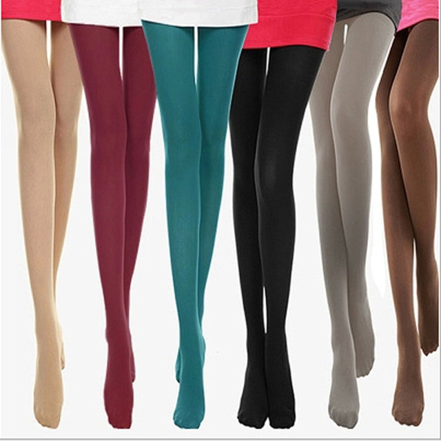 0176fdfa1d3 Women s Sexy Footed Thick Opaque Warm Pantyhose Stretch 120 Denier Long  Soft Autumn Winter Nylon Tights Candy Color Stockings